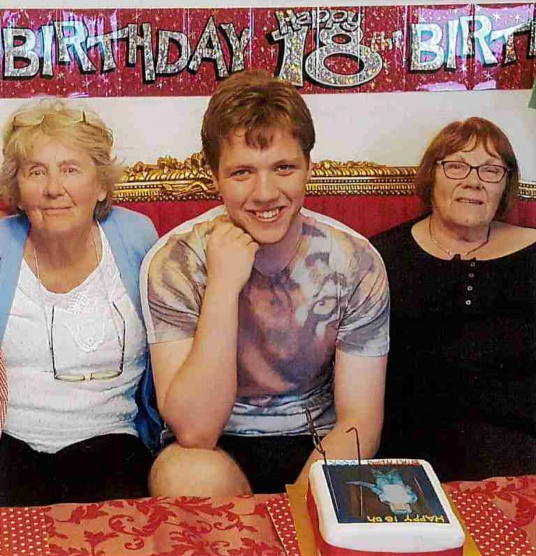 This is Harry on his 18th birthday with his grandmothers Gwen King and Mary Cresdee. They miss him every day.